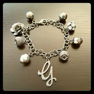 Guess gun metal charm bracelet